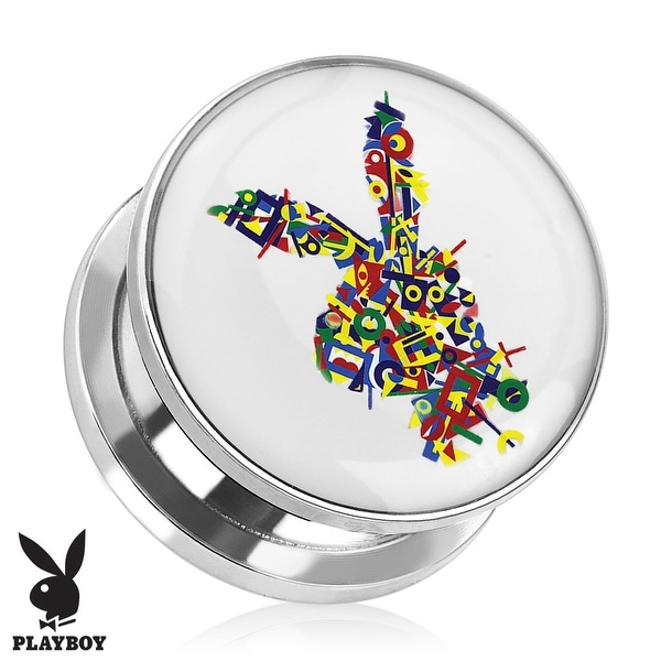 Playboy Bunny Logo Color Letters Print Screw Fit Plug 316L Surgical Steel (Sold Individually)