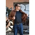 Mens Bomber Leather Fashion Jacket Brown FJ3 - Thumbnail 2