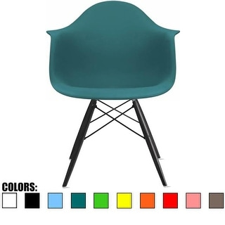 2xhome Teal Eames Dining Room Arm Chair With Black Wooden Eiffel Style Legs