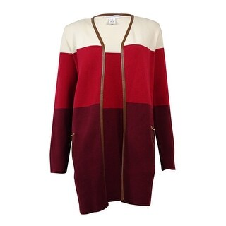 Charter Club Women's Pleather Trim Colorblocked Cardigan - malbec combo - s