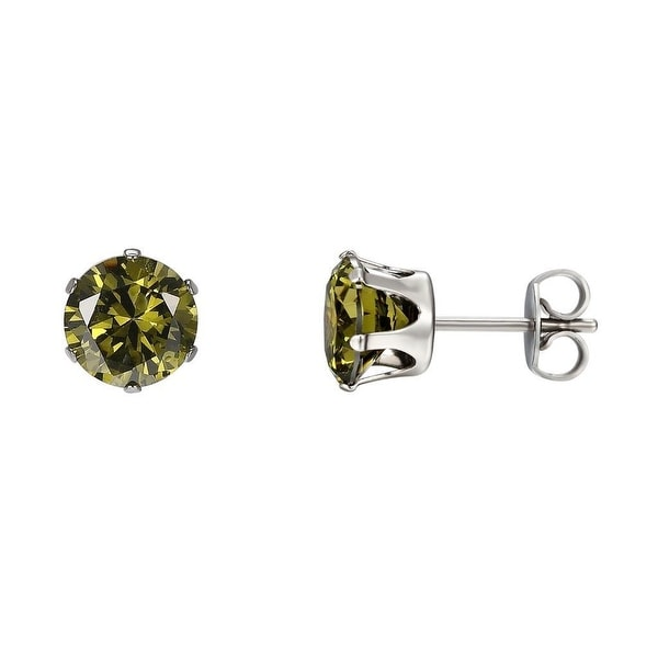 Green Solitaire Earrings Studs Stainless Steel Mens Womens CZ Cubic Zirconia 3mm