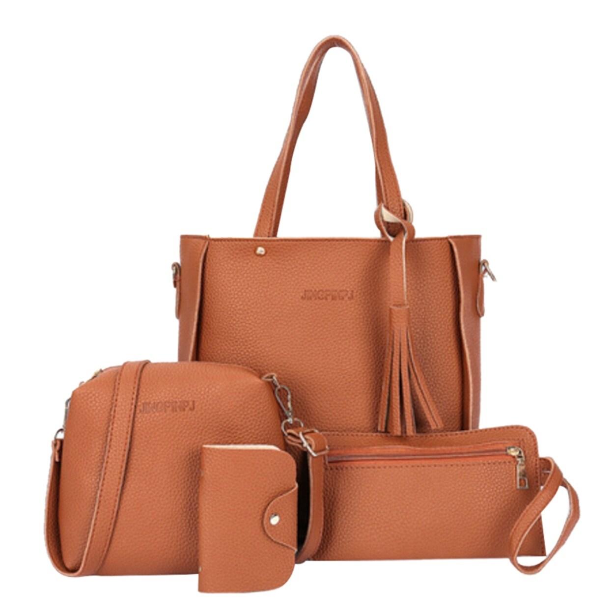 Women Fashion Vegan Leather Handbags+Shoulder Messenger Bag+Purse+Card Holder Package 4pcs Set Tote