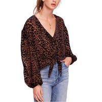 Free People Brown Womens Size Large L Wild Dreams Leopard Blouse
