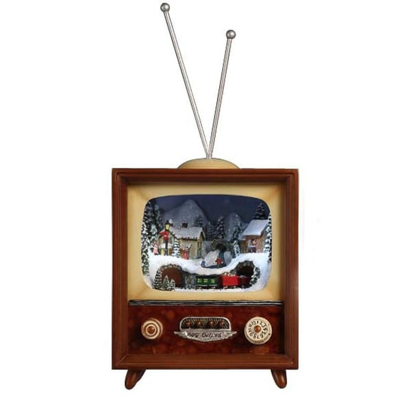 """Pack of 2 Icy Crystal Illuminated Musical Christmas TV Box Figurines 10"""" - brown"""