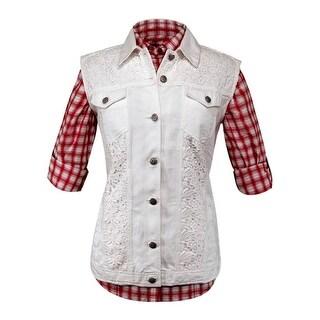 Outback Trading Vest Womens Pearl Denim Crochet Light White 29586
