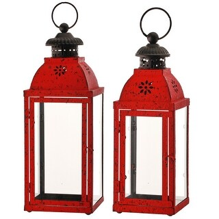 Link to Set of 2 Red and Black Metal Glass Antique Lantern Similar Items in Decorative Accessories