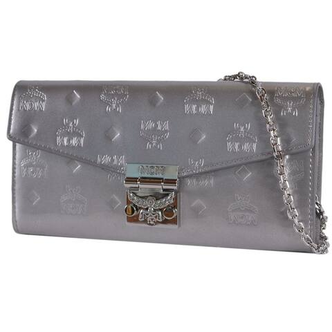 58062eb2a16833 MCM Large Metallic Silver Patricia Visetos Flap Wallet with Crossbody Chain
