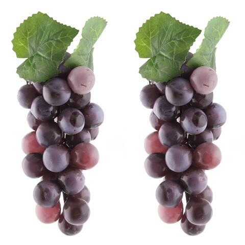 Plastic Desk Table Decoration Simulation Artificial Fruit Grape 2Pcs - Purple