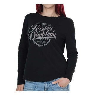 Harley-Davidson Women's Famous Long Sleeve Thermal Tee w/ Thumbholes, Black
