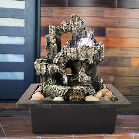 3-Tier Tabletop Fountain - 11.4-inch H Cascading Waterfall Feature