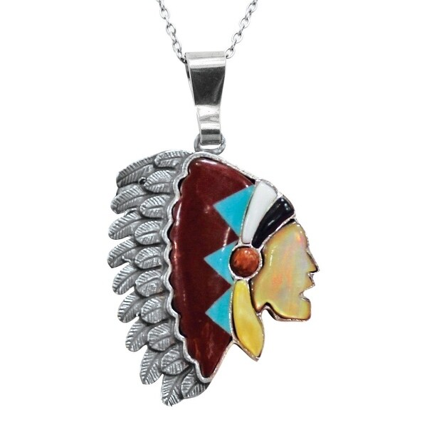 "LoulaBelle Jewelry Womens Necklace Indian Head 32"" Silver Red LN09T - silver dark red"