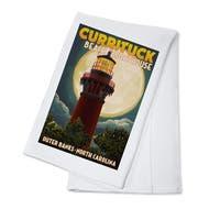 Outer Banks NC - Currituck Lighthouse - LP Artwork (100% Cotton Towel Absorbent)