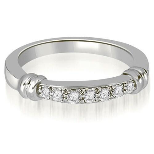 0.18 cttw. 14K White Gold Round Cut Diamond Wedding Band