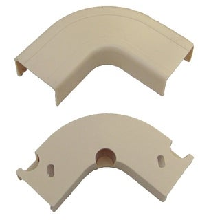 Offex 1.25 inch Surface Mount Cable Raceway, Ivory, Flat 90 Degree Elbow