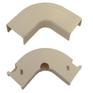 Offex 1.75 inch Surface Mount Cable Raceway, Ivory, Flat 90 Degree Elbow
