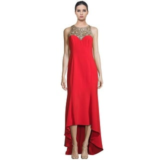 Marchesa Notte Beaded Hi-Lo Crepe Evening Gown Dress