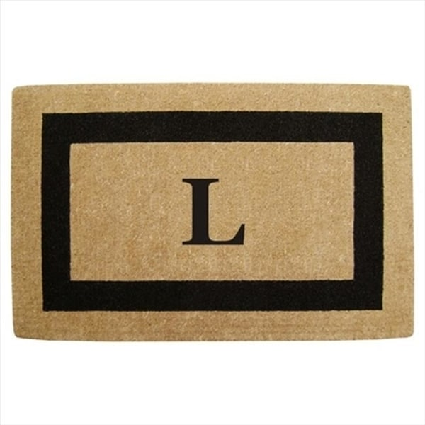Nedia Home 02080K Single Picture - Black Frame 30 x 48 In. Heavy Duty Coir Doormat - Monogrammed K