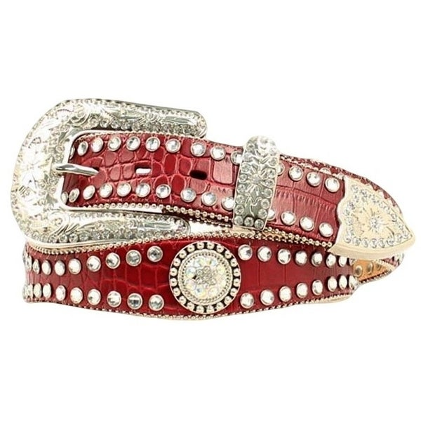Blazin Roxx Western Belt Womens Crystal Gator Fiery Red