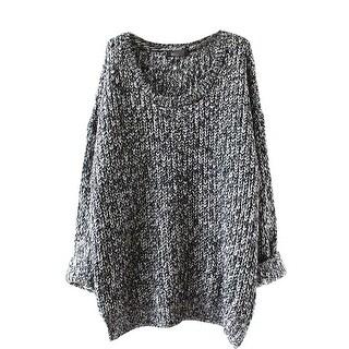 QZUnique Women Oversized Crewneck Pullover Long Sleevess Loose Sweater