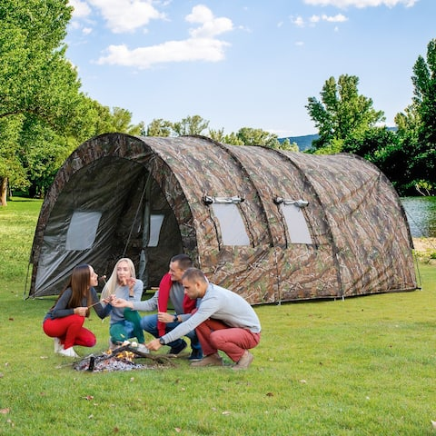 Extended Outdoor Tent Camping 8-10 Person Weatherproof Durable