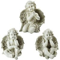"Set of 3 Sitting Cherub Angel Decorative Outdoor Garden Statues 11"" - N/A"