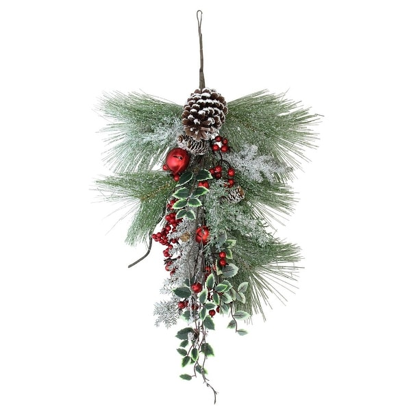 "26.5"" Frosted Red Bells, Berries and Pine Cones Artificial Christmas Door Swag - Unlit - brown"