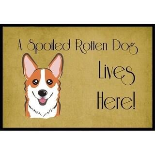 Carolines Treasures BB1502JMAT Red Corgi Spoiled Dog Lives Here Indoor & Outdoor Mat 24 x 36 in.