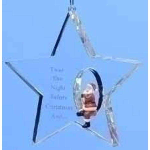 "3.5"" Icy Crystal Star Santa Claus Christmas Ornament - CLEAR"