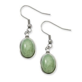 Stainless Steel Green Aventurine Earrings