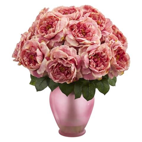 Rose Artificial Arrangement in Rose Colored Vase