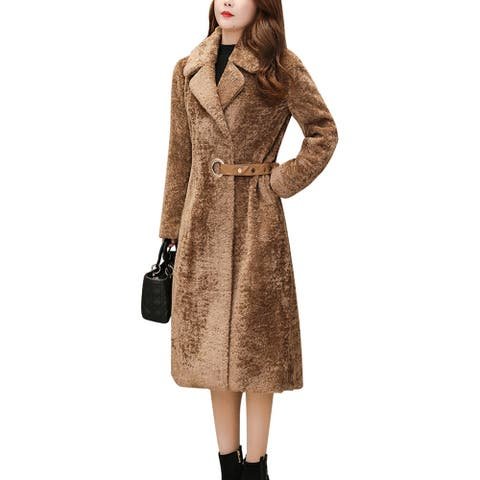 Women's Lapel Jacket Long Sleeve Solid Color Coat Belted Overcoat
