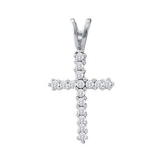 Cross Pendant 10K White-gold With Diamonds 0.25 Ctw By MidwestJewellery - N/A