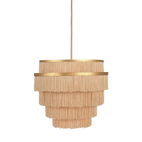 Gold Metal with 5-Tiered Cream Fringe Pendant Lamp