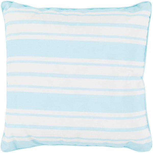 "20"" Striped In Color Sky Blue and Ivory White Decorative Throw Pillow"
