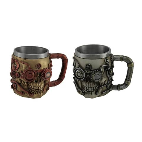 Pair of Hand Painted Metallic Finish Steampunk Style Skull Coffee Mugs - 4.25 X 5.75 X 4.25 inches