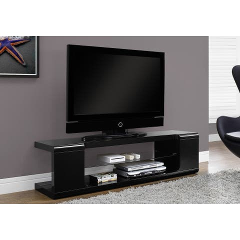 Monarch 3536 High Glossy Black 60nch Tv Stand With Tempered Glass