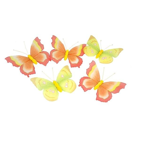 """6' Yellow And Orange Glitter Mesh Butterfly Garland - 15"""" butterflies"""