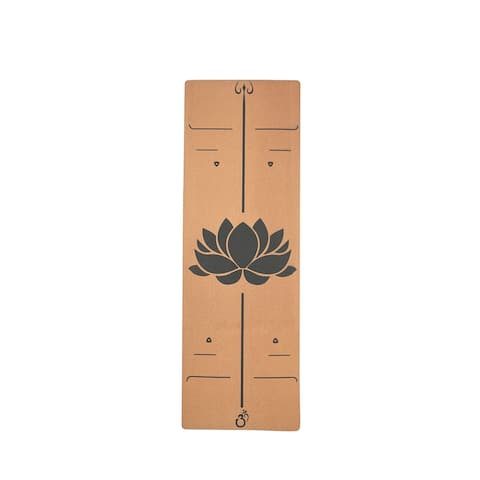 Moda Health and Fitness Extra Wide Lotus Pattan Cork Wood Yoga Mat