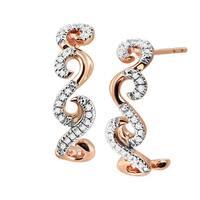 1/10 ct Diamond Swirl Half Hoop Earrings in 10K Rose Gold