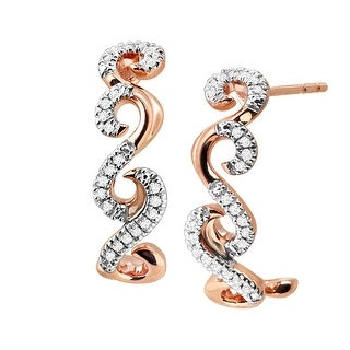 1/10 ct Diamond Swirl Half Hoop Earrings in 10K Rose Gold