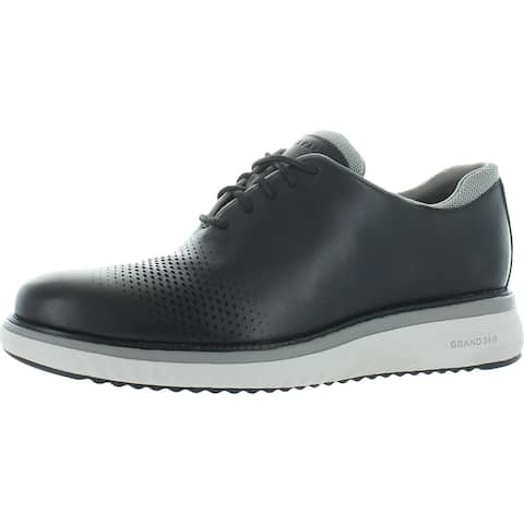 Cole Haan Zerogrand Eon Leather Perforated Wingtip Oxfords - Black/Ironstone/Vapor Grey
