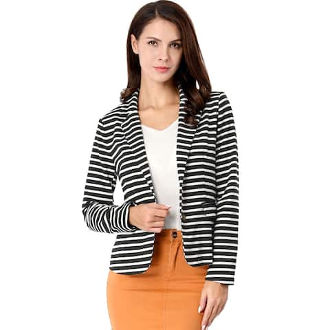 Unique Bargains Women Notched Lapel Button Closure Striped Blazer