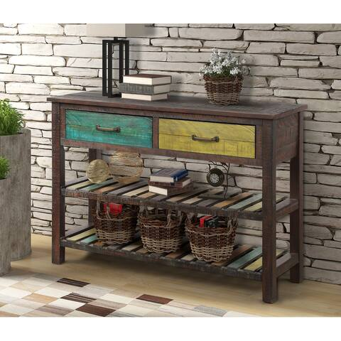 Colorful Entryway Console Table with Drawers and 2 Tiers Shelves