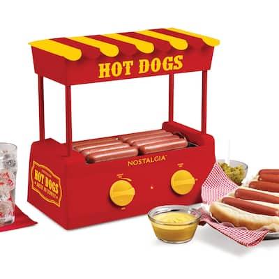 Nostalgia HDR8RY Hot Dog Roller and Bun Warmer, 8 Hot Dog and 6 Bun Capacity