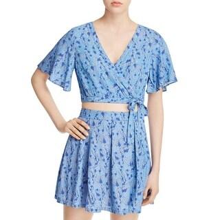 Jack Womens Gwenifer Crop Top Printed Bell Sleeves Blue XS