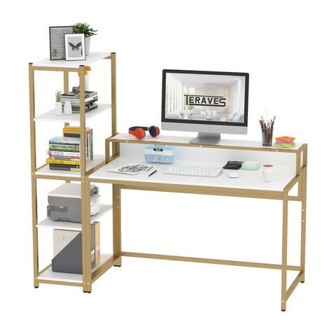 Teraves 47 Office Computer Desk with Removable 5 Tier Storage Shelves DIY for Home Office Corner Desk