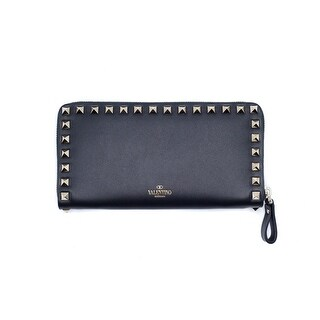 Valentino Womens Gold Rockstud Leather Black Zip-Around Wallet