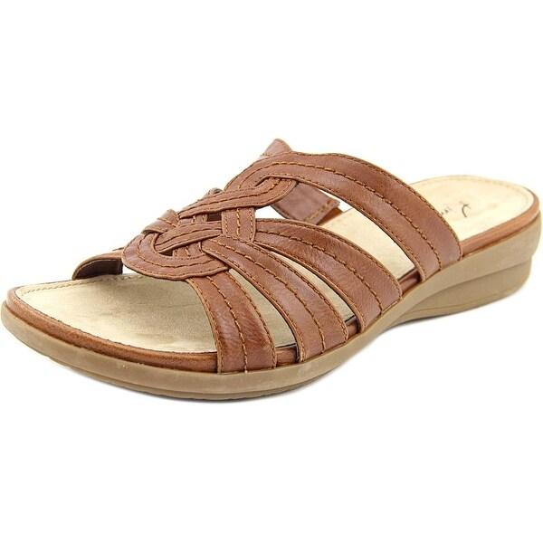 Kim Rogers Marma Women Open Toe Faux Leather Brown Slides Sandal