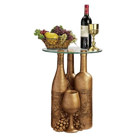 Design Toscano Wine and Dine Sculptural Glass-Topped Table