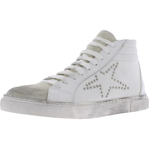 Steven By Steve Madden Womens Roary Fashion Sneakers Leather Embellished - White Multi